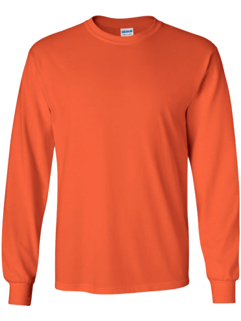 Gildan-2400-Ultra-Cotton-Long-Sleeve-Orange-Front